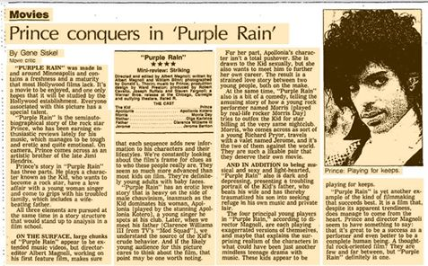 """From the Tribune archives: """"Purple Rain"""" review from July 27, 1984, by Gene Siskel. https://t.co/hUqTHEEWxn https://t.co/FOMnCyoLfQ"""