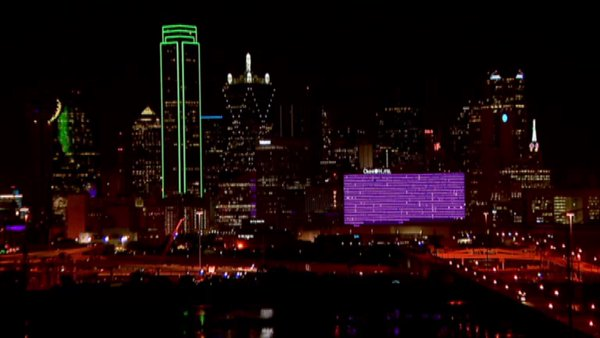 3 views of Dallas Omni lit in honor of #PrinceRIP tonight. H/T: @rociopat https://t.co/s3YZ3P54Zl