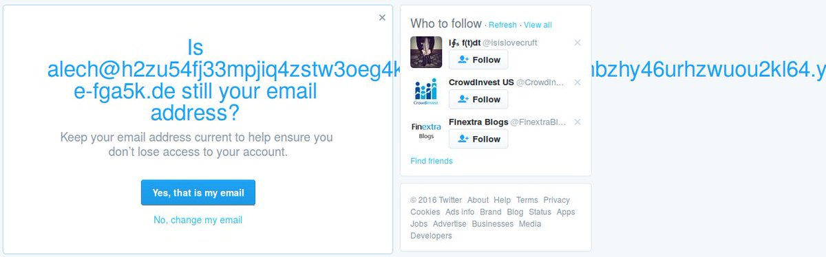 Yes, @twitter, that is still my email address and it still doesn't fit inside your box. https://t.co/n5KWXT4uh6