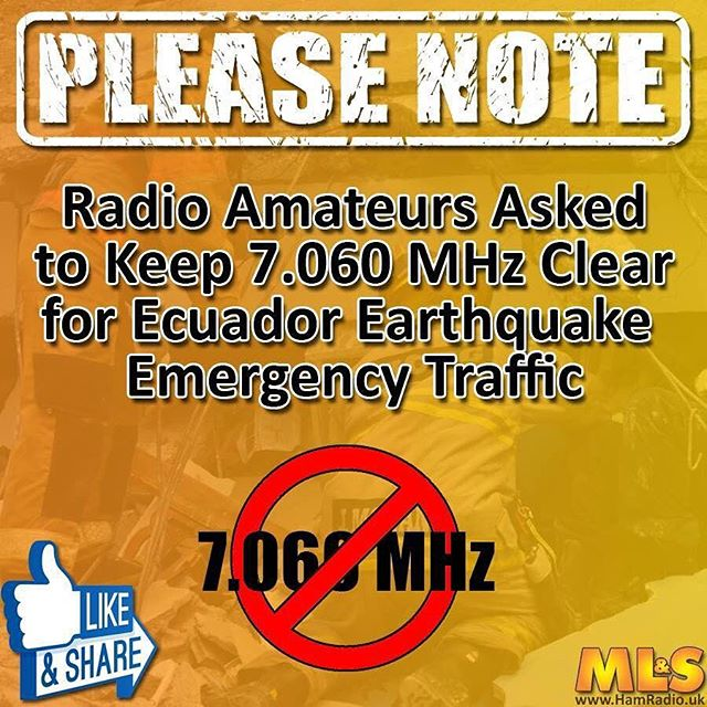2 RTTY #HamRadio contests this weekend. Please keep 7060 clear for #EcuadorEarthquake traffic. https://t.co/QtY7EjCo58