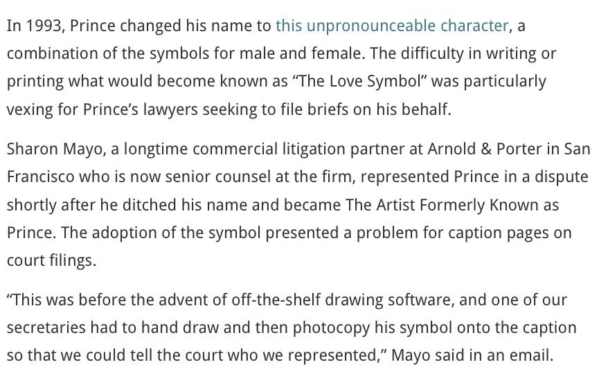 Princes Lawyers Had To Draw His Symbol Onto Court Filings By Hand