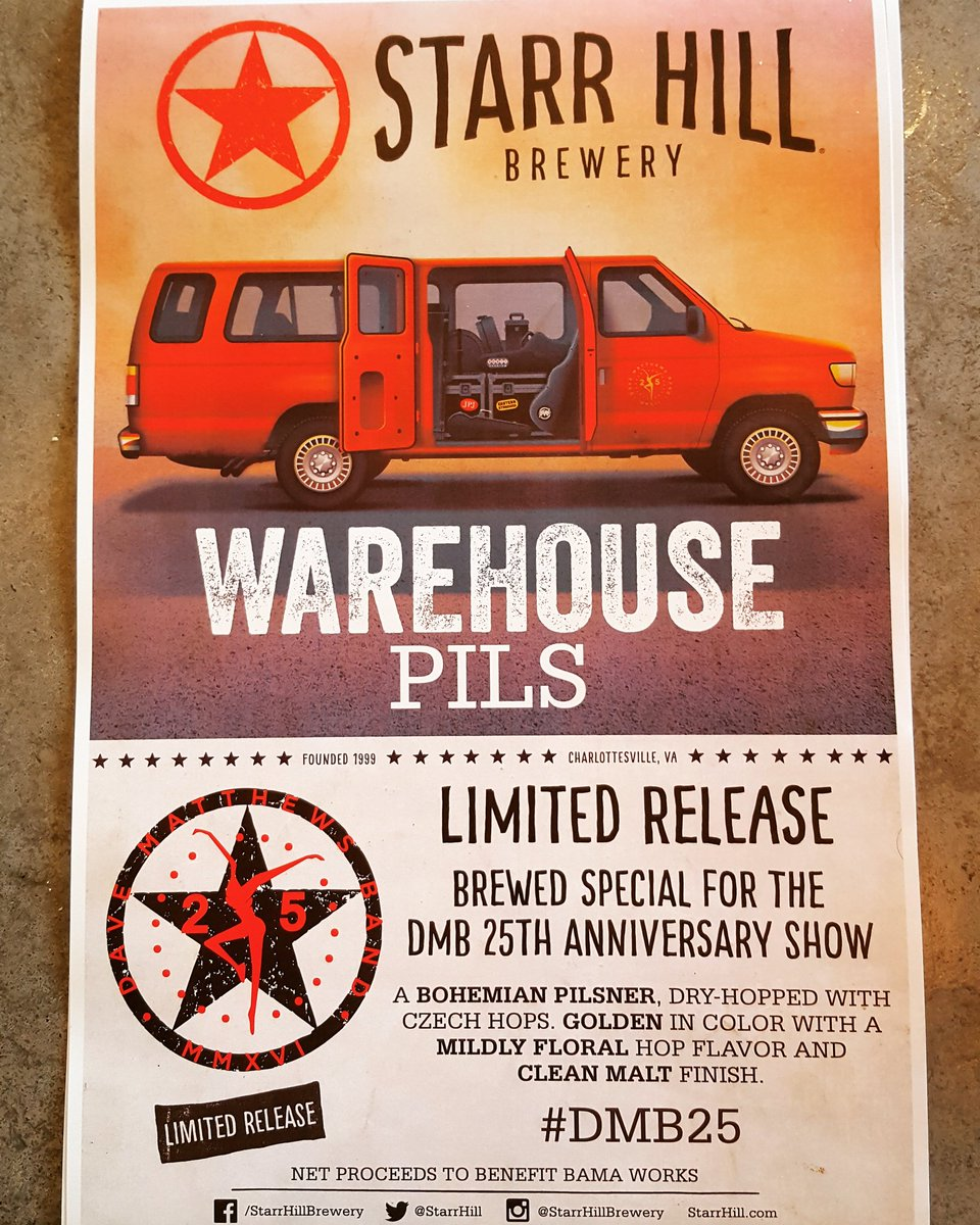 This is happening: @DaveMatthewsBand 25th Anniversary Warehouse Pils! Coming soon @StarrHill Tap Room #dmb25 https://t.co/1AzZgIFuEn
