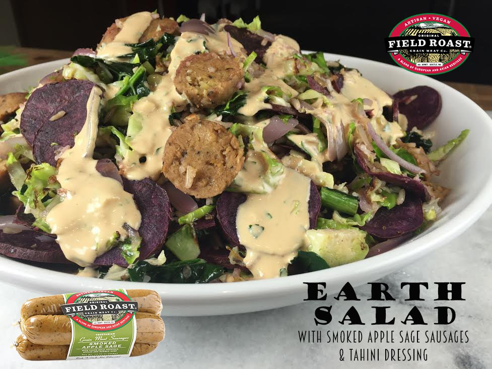Enjoy #EarthDay with #plantbased eating! This dish uses our Smoked Apple Sage Sausage + veggies with tahini dressing https://t.co/wmGgsB7k61