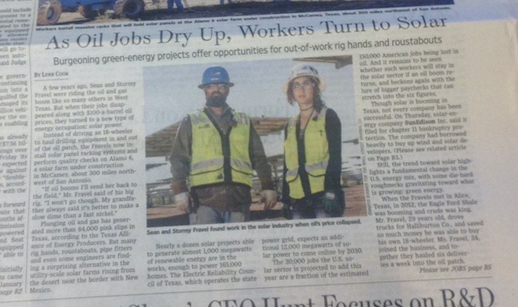 """As oil jobs dry up, workers turn to solar"": Front page WSJ business section. What a great #EarthDay present. https://t.co/zUojL2hcUz"