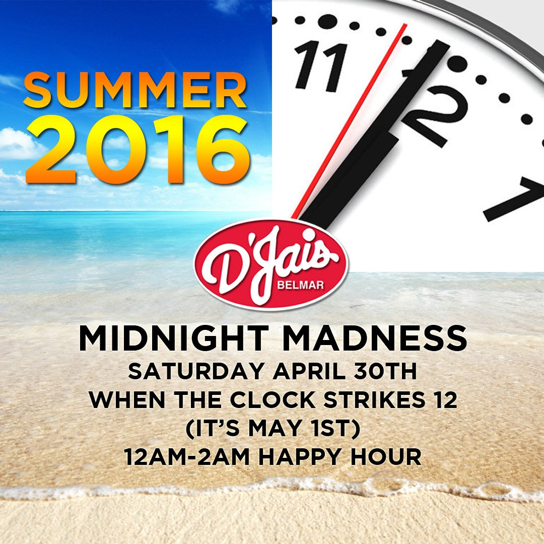 Next Weekend Who's Ready? #MidnightMadness #Countdown to #Summer16 when the clock strikes 12! #LateNite #HappyHour https://t.co/16xj0VEplw