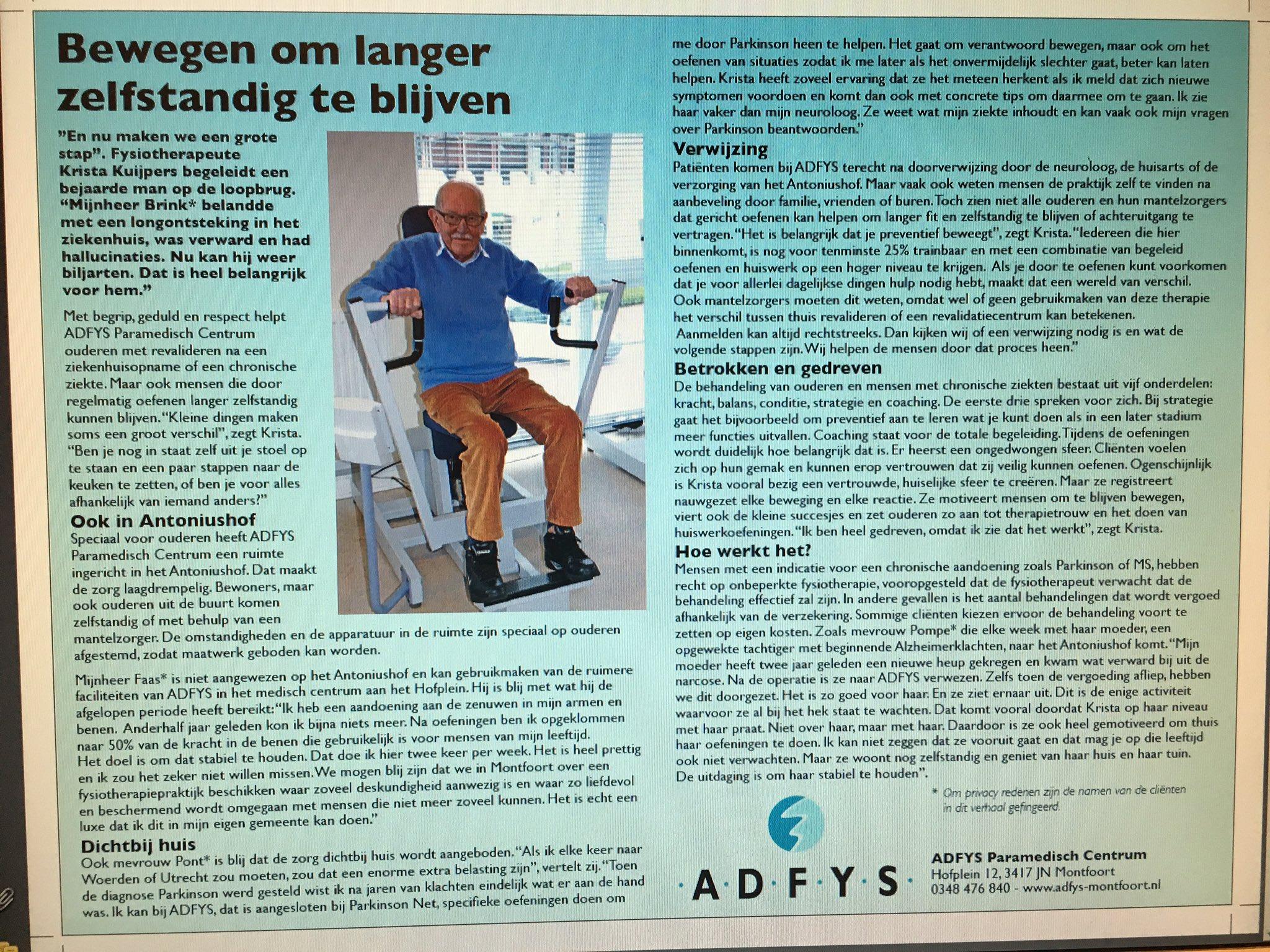ADFYS Geriatrie Fysiotherapie , artikel in IJsselbode #app https://t.co/fNSSA8czdw