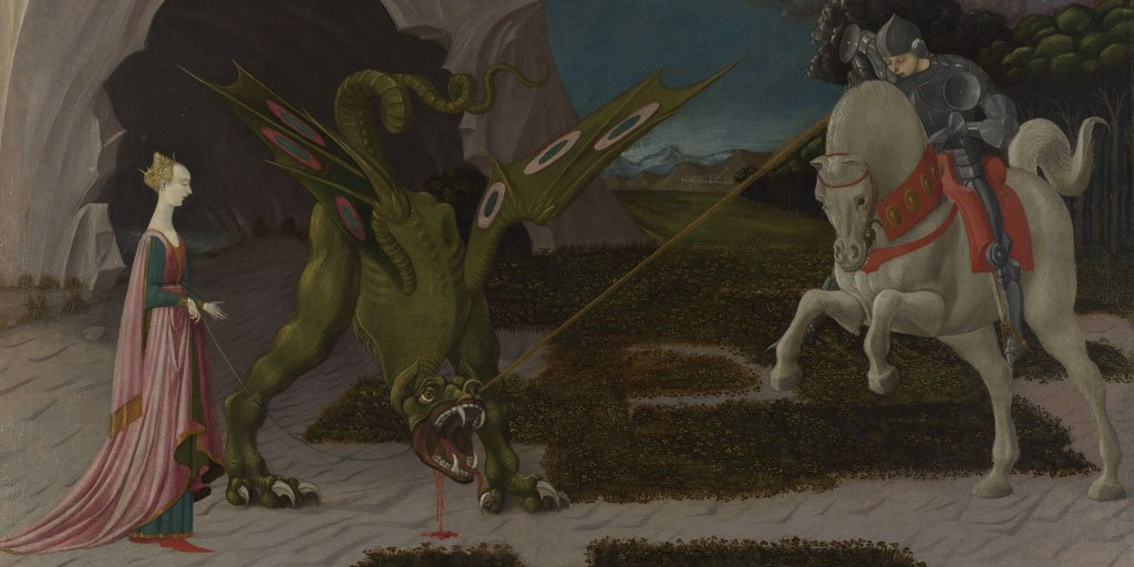 Happy #StGeorgesDay! Here's one of our best known depictions of 'Saint George and the Dragon' by Paolo Uccello. https://t.co/CVcsHZJHmG