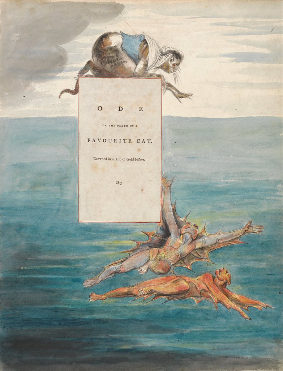 William Blake's illustration to an ode for Horace Walpole's drowned cat https://t.co/SEBu5fB85Y https://t.co/ucGSGm6TYU