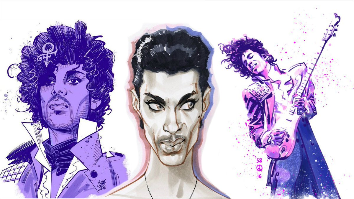 #Prince Tribute Art by @cameronMstewart @JScottCampbell @AnnieW @sinKEVitch @duss005  https://t.co/4p0eNd0TPK https://t.co/EyD6tYkFae