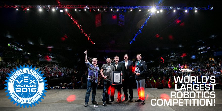 Excited to be the current @GWR holder for the Largest Robotics Competition in the world! #VEXworlds #omgrobots https://t.co/0BcsR0HuuD