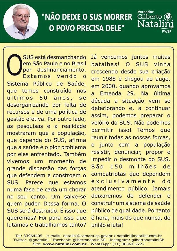 Lula/Dilma/PT estão desmanchando o SUS. Um crime de lesa humanidade. Uma irresponsabilidade histórica. Uma covardia! https://t.co/ab75jXbbTc