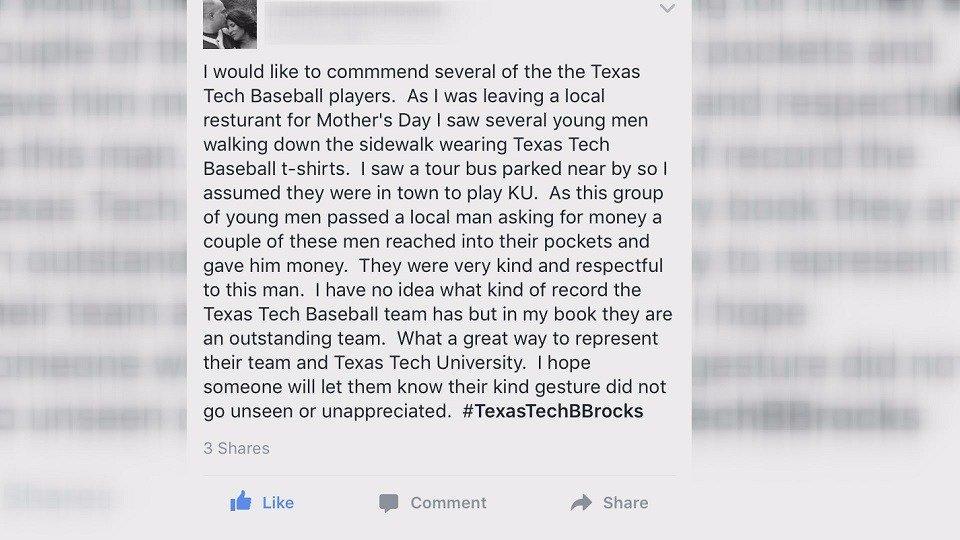 Woman commends Texas Tech baseball players for act of kindness in Kansas https://t.co/HTdELkzkik https://t.co/1YsUWVzDrR