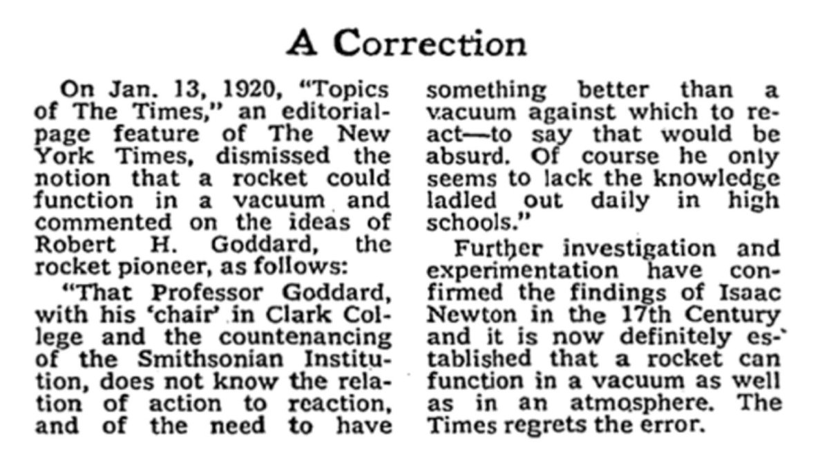 My favorite NY Times correction is from July 17, 1969 (the day Apollo 11 launched.) https://t.co/UoyYb1gsfI