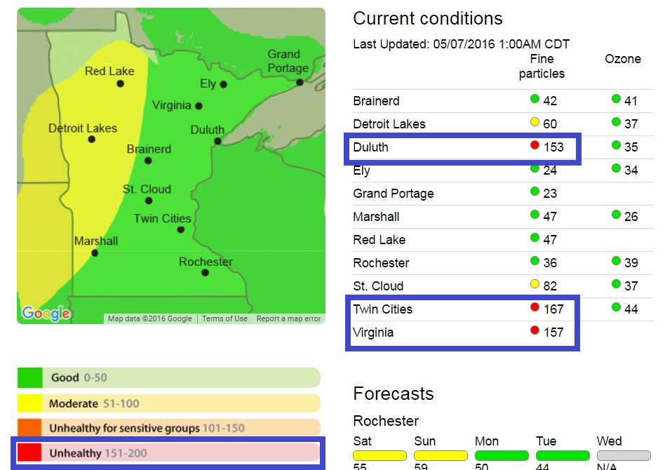 "Smoke event from Canadian fires in Twin Cities. Air quality in ""unhealthy"" range overnight. AC recommended. #mnwx https://t.co/WQs4BefBcV"