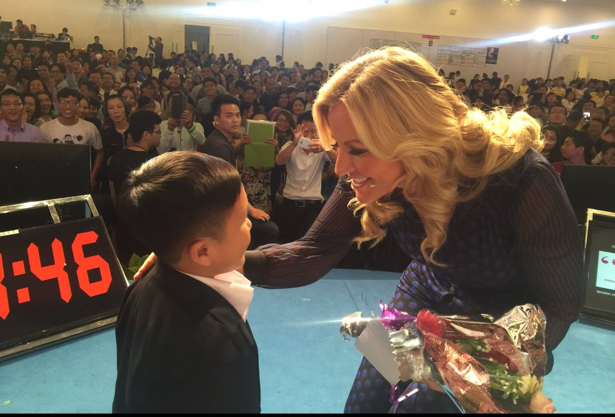 Most embarrassing moment.Speaking in Vietnam to 3,000 people,thought this was a 6 year old,picked him up,he's a MAN
