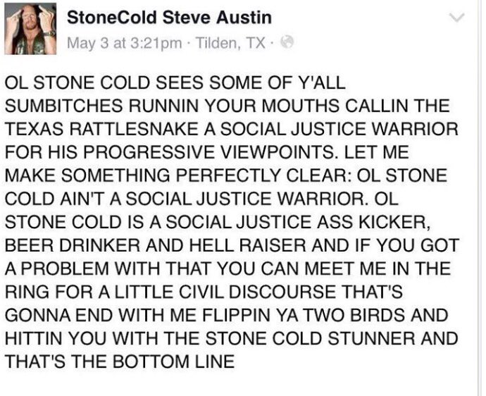 Apparently someone called StoneCold Steve Austin a SJW and then it got amazing... https://t.co/fDR2Odbt0G