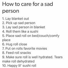 How to care for sad person. Friends take note. https://t.co/QvOipp1hgH
