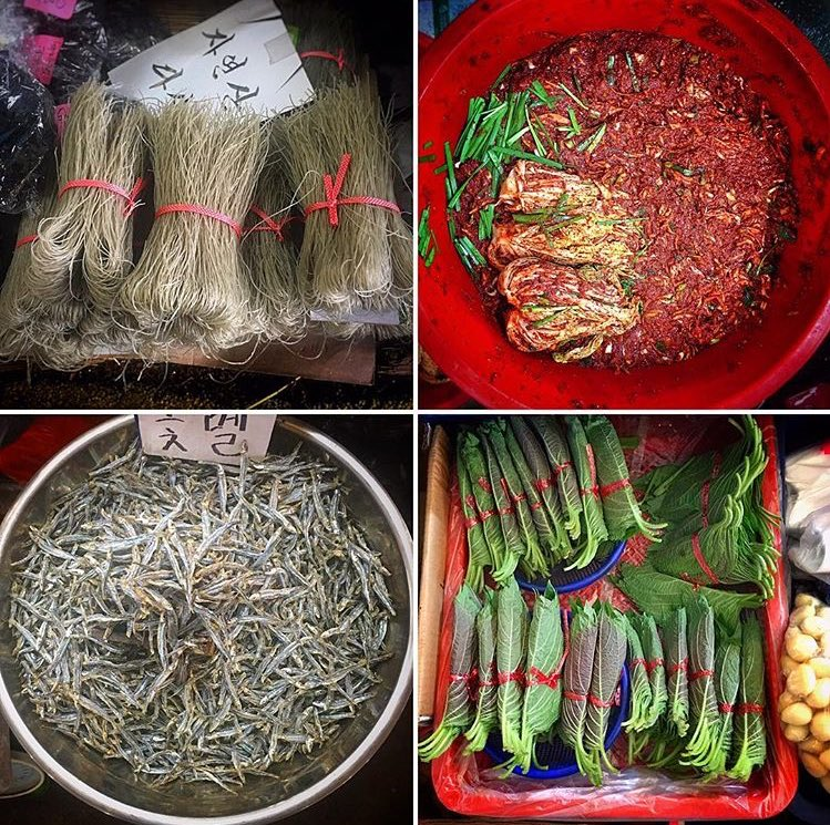 nice things from the 5day street market, sweet potato noodles, Dried fish, sesame leaves. seen some amazing stuff https://t.co/NCkTR6rH8Y