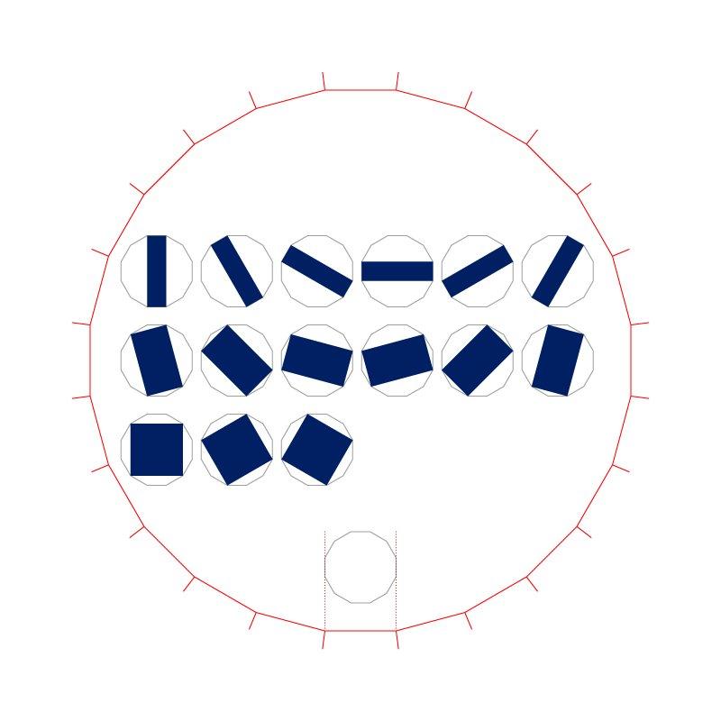"""(1)指摘したい点は、24角形を起点にしているという箇所。まず、言われているように""""24角形とその対角線から出来る12角形""""を作り、そこから同じようにパラリンピックエンブレムを作ってみる。画像を拡大すると分かるのだがズレる。 https://t.co/3XOmzW9Xdo"""
