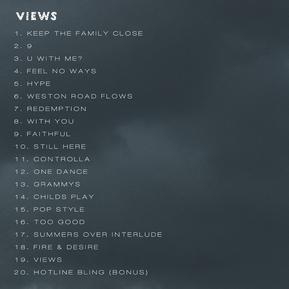 #VIEWS Tracklist https://t.co/6KLbbgzFSm