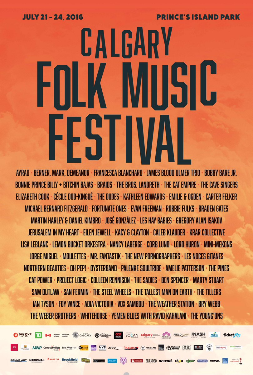 The moment you've been waiting for...your 2016 Calgary Folk Music Festival lineup! See you there July 21-24 #CFMF https://t.co/IreHEw3cF2