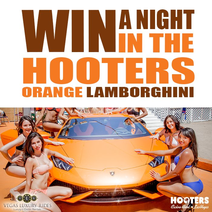 "Win a night in the ""Hooters Orange"" Lamborghini at the #HootersBeachBash! #VegasLuxuryRides #LasVegas https://t.co/94WXmbCT2G"