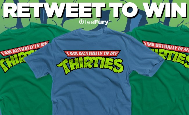 """RETWEET TO WIN! 5 people will win """"Actually in My Thirties""""by @hugothehugo! Ends tonight 4/27 9PM (PST). #TeeFury https://t.co/CisRoVg2Vi"""