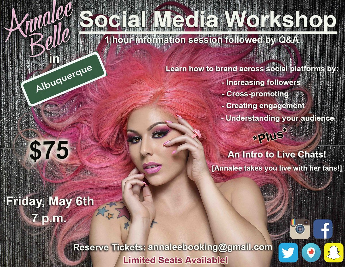 Hey hey, #ALBUQUERQUE! I'll be doing a social media workshop May 6th. Email to book.