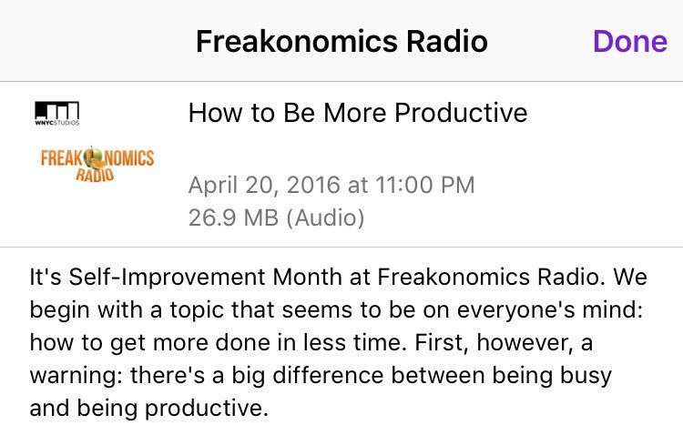 I see crap in my feed about #productivity constantly. But this is actually great. Thx @freakonomics #podcast https://t.co/Kuoz0y1dus