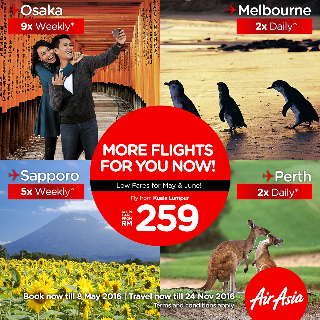 X-tra flights starting May and June, book your flights @ from RM259