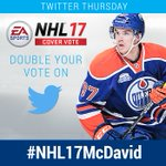 Its Twitter Thursday! RT to vote for @cmcdavid97 for the @EASPORTSNHL 17 cover! #NHL17McDavid https://t.co/DMWlzo1Cfc