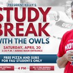 Take a study break this Saturday at 3:30 PM with @FAUpresident Kelly! #FreeFood https://t.co/sKLUHWEa10