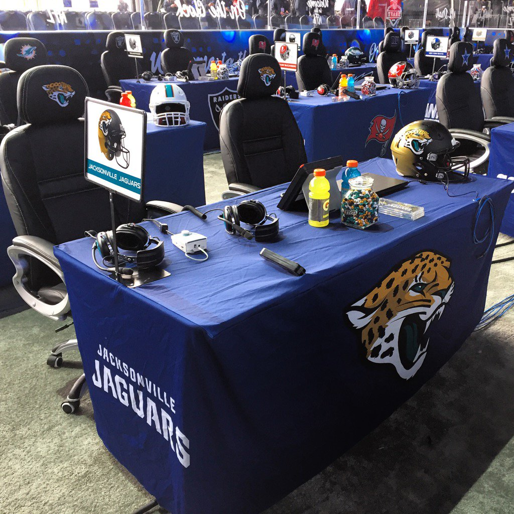 Jaguars table at the NFL Draft https://t.co/6E4Qu2n2ri