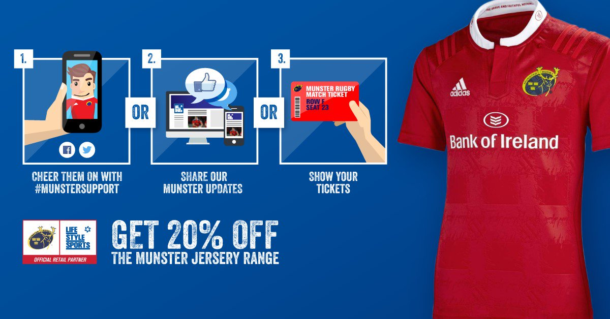 REMEMBER: Show your #MunsterSupport online, bring your phone & show our team in-store to get 20% off Munster Kit https://t.co/TKhrwBId75