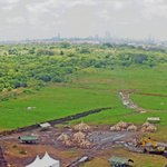 An aerial view of the ivory burn site where #Kenya w/set ablaze 105T of ivory & 1.35T of rhino horn #WorthMoreAlive https://t.co/FwtpMOUIId