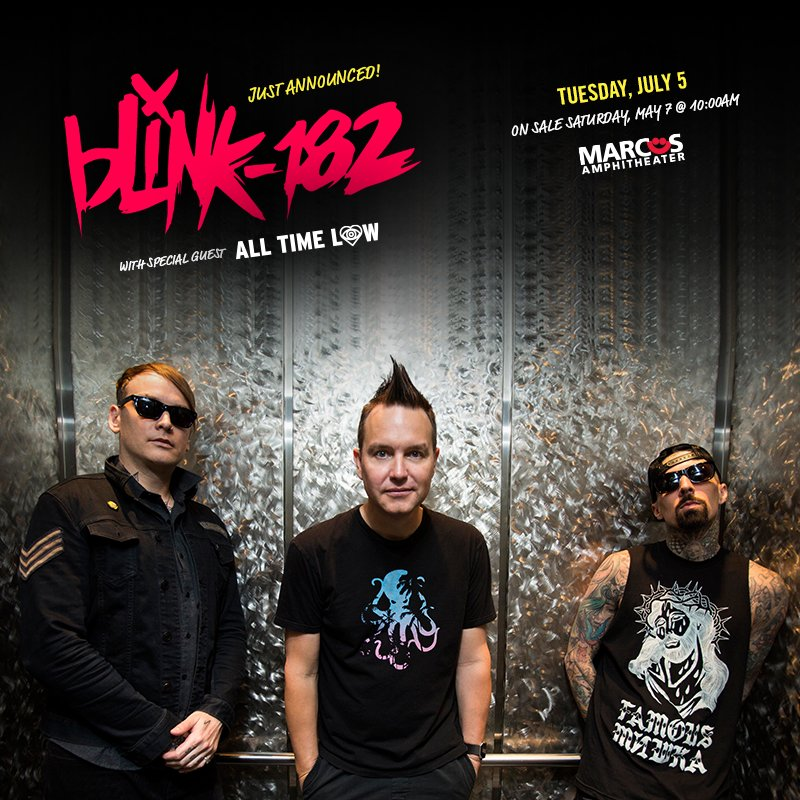 JUST ANNOUNCED! @blink182 w/ special guest @AllTimeLow headline the Marcus Amp on 7/5 - https://t.co/e0h6KlqYV2 https://t.co/FBdDgfzmBN