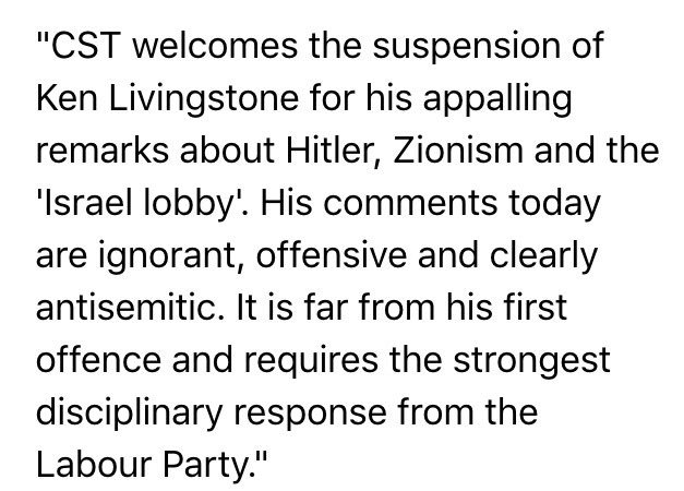 CST statement on Ken Livingstone's comments about Hitler, Zionism and the 'Israel lobby' https://t.co/vGgDLBi15K