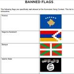 Le drapeau du Pays Basque interdit dentrée à lEurovision au même titre que le drapeau de létat Islamique ! https://t.co/B1FXyXlmh7