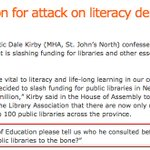 """Fair to ask then & now, @dalegkirby can you answer own Q regarding cuts as """"attack on literacy""""? #nlpoli #Budget2016 https://t.co/AiOfOFMk9N"""