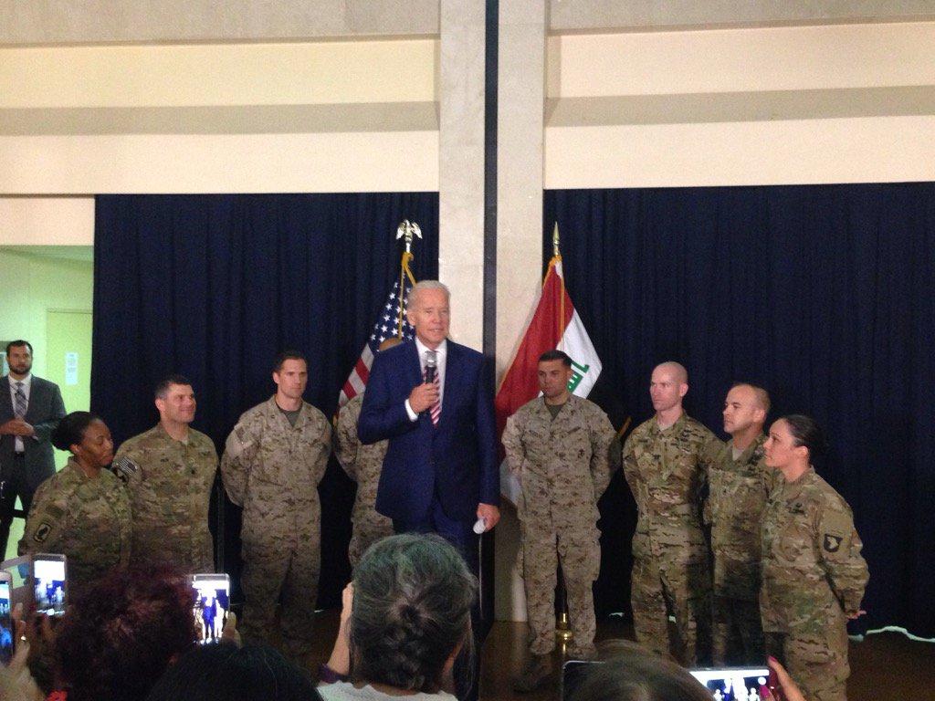 VP @JoeBiden spoke to service members in #Baghdad today https://t.co/jhEYwIbq35