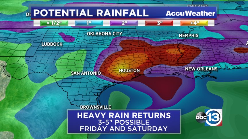 "A period of heavy rain returns to SE Texas Friday & Saturday. 3-5"" rain is possible, the threat for flooding returns https://t.co/aSsVKQbjbe"