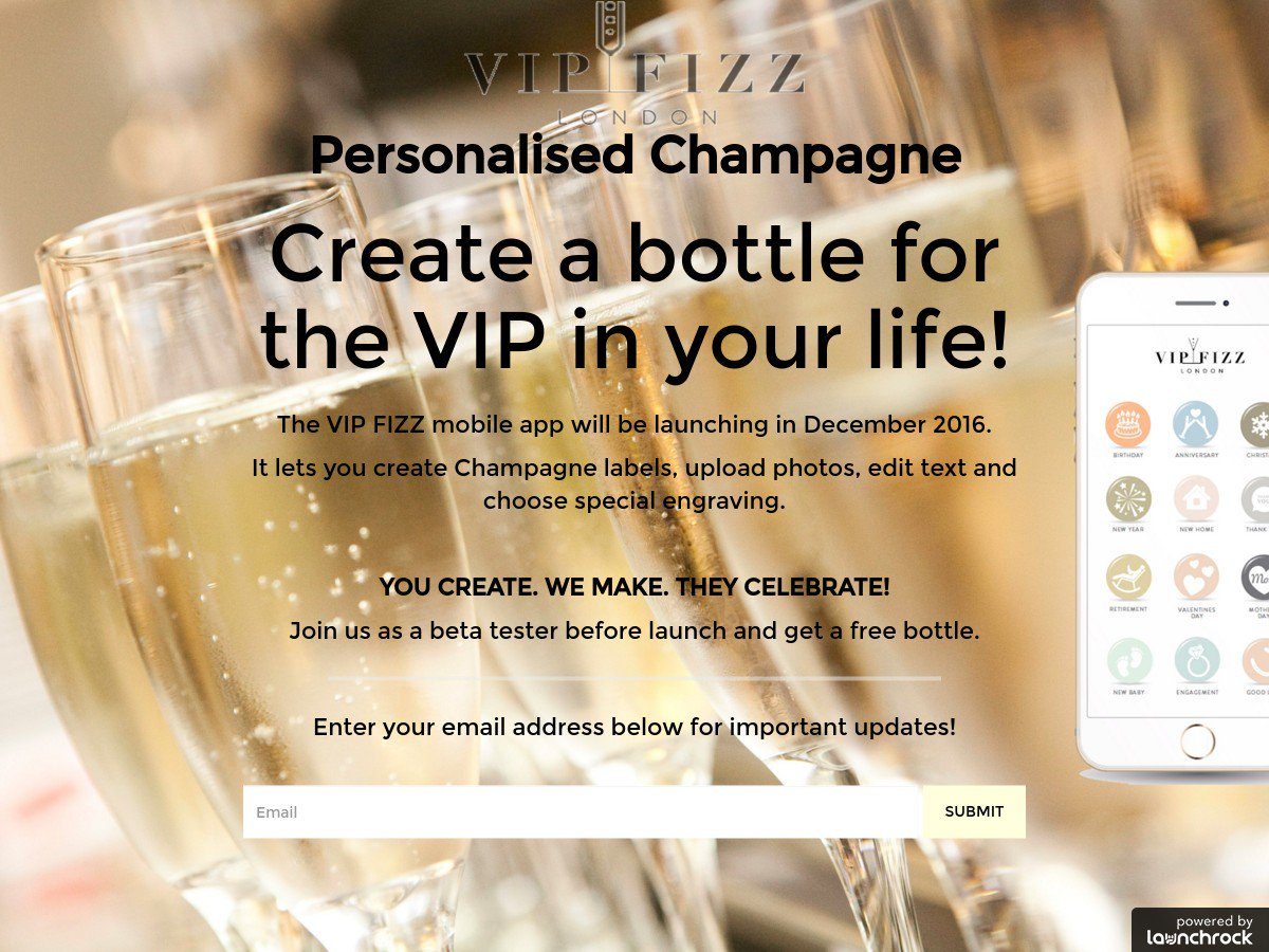 Just Launched: @vipfizzapp is creating personalized champagne for all occasions. https://t.co/YLtHRzJUmC https://t.co/jUBawf9H1H