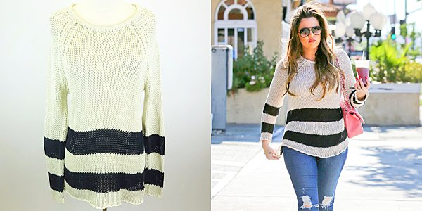 RT @khloefandotcom: Bid on @khloekardashian's @PJKcollection Beige/Blue Stripes Sheer Cable Knit Sweater Sz M https://t.co/yEQgbxFex5 https…