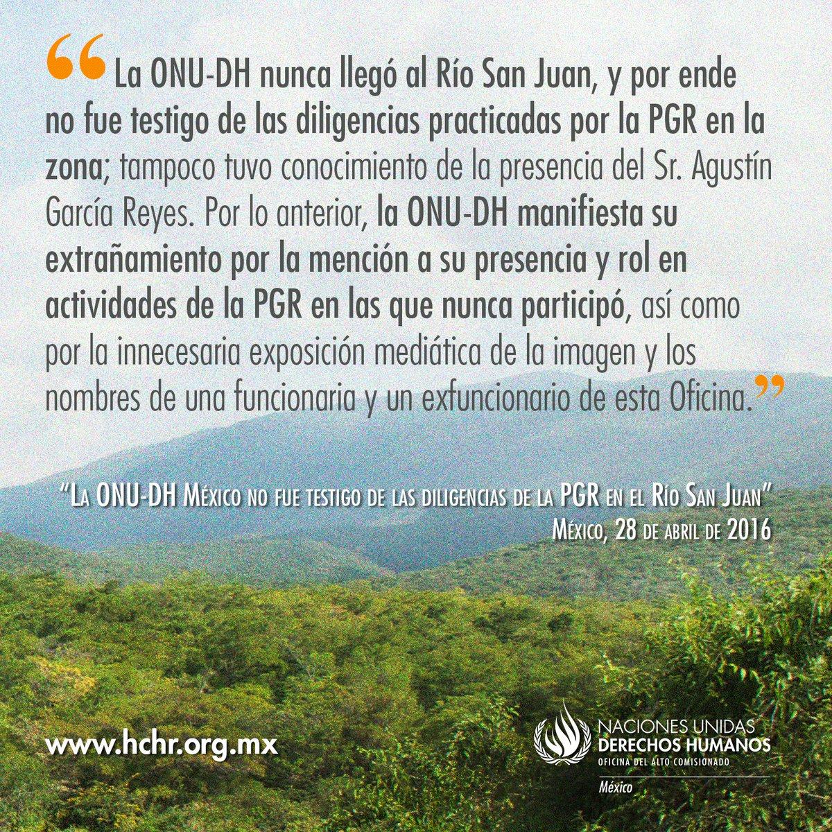 #Comunicado La ONUDH Mx no fue testigo de las diligencias de la PGR en el Río San Juan: https://t.co/epj1zW7BYe https://t.co/T28tDCIGMJ