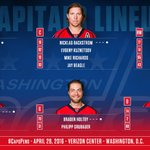 Heres your entire #Caps lineup for tonights Game One against the Pittsburgh Penguins. #CapsPens #RockTheRed https://t.co/ezChExFFWy
