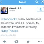 Waziri claims PDP brought up #Fulaniherdsmen to spite the President. Im too shocked to respond. Nigerians, help me! https://t.co/l25Zg60r5m