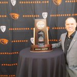 .@CoachRueck strikes a pose w/@OregonStateWBB final four trophy at @OurBeaverNation #BeaverRoadShow in #Medford. https://t.co/21qg1G0Zb4