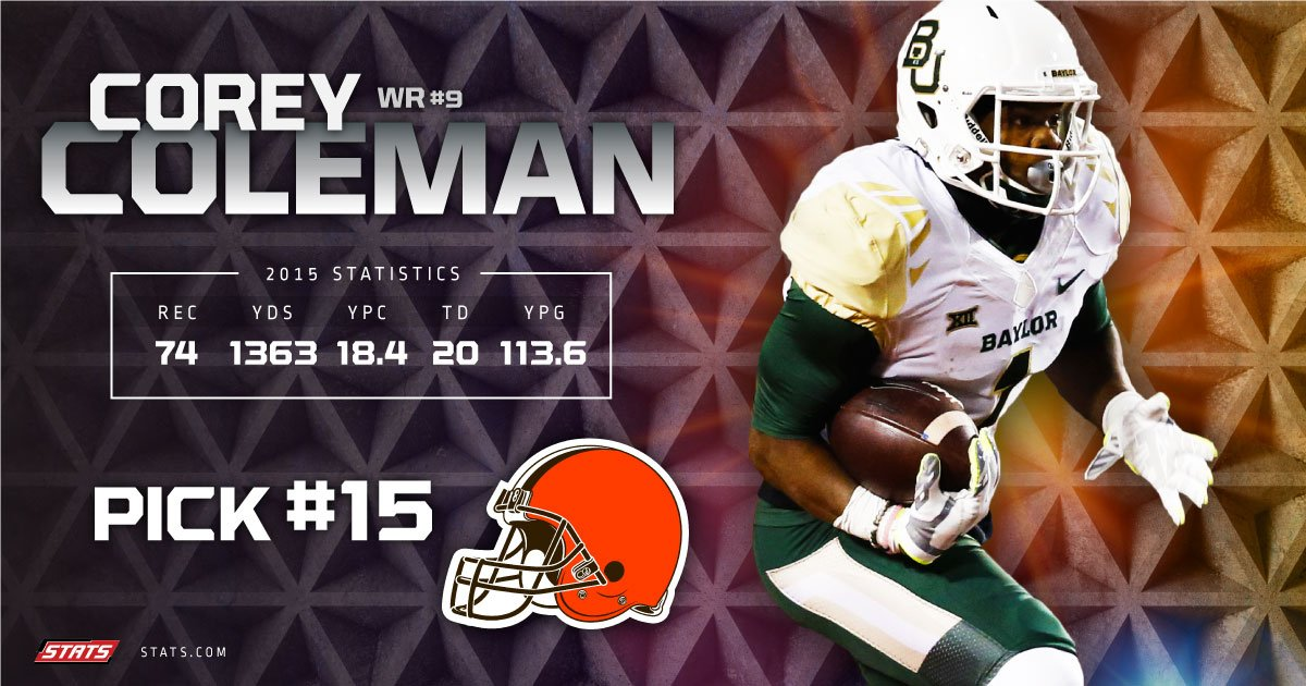 Does #RGIII have a new target with #CoreyColeman? The #Browns select him with the 15th pick in the #NFLDraft #Baylor https://t.co/9MH9gS9b88