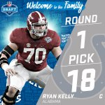 With the #18 pick in the 2016 #NFLDraft, the @Colts select C Ryan Kelly! https://t.co/t7At0eLs12