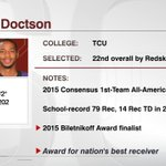 Josh Doctson is the 1st TCU offensive player selected in the 1st Round since LaDainian Tomlinson. https://t.co/2aBD2Vpv4X
